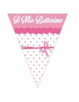 Festone a Bandierine Il mio Battesimo rosa con fiocco 2.3 mt