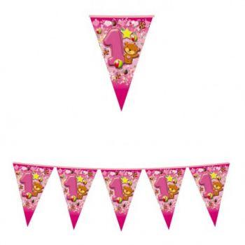 Festone a Bandierine Primo Compleanno Rosa 2.3 mt