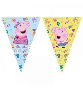 Festone a bandierina in plastica Peppa Pig 2,3 mt