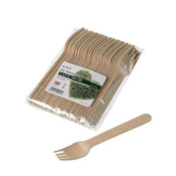 Forchette in legno di betulla naturale 16 cm 48 pezzi