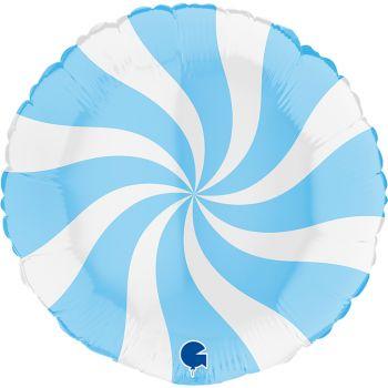 Pallone tondo 46 cm disegno a spirale azzurro e bianco
