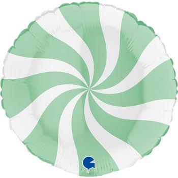 Pallone tondo 46 cm disegno a spirale verde e bianco