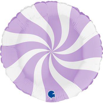 Pallone tondo 46 cm disegno a spirale lilla e bianco