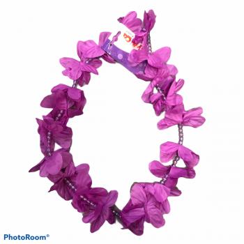 Collana di fiori hawaiana con perline lilla 100 cm