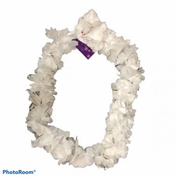 Collana di fiori hawaiana bianca 130 cm