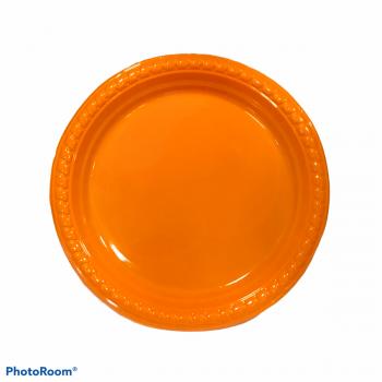 10 Piatti tondi in plastica con bordo ornato 23 cm arancio