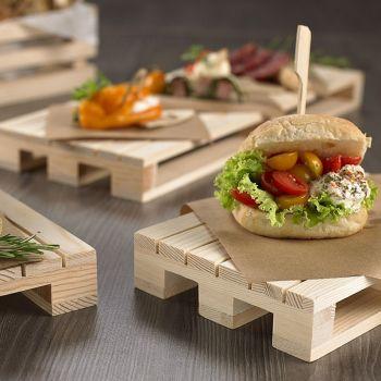 I bancalini paillet da appoggio in legno 20x12x3.5 cm per finger food