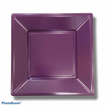8 Piatti quadrati in plastica rigida 18 cm viola