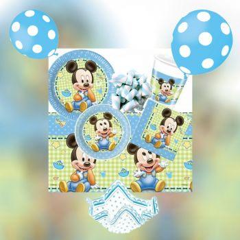 Kit Completo Festa a Tema Baby Mickey per 15 Bambini