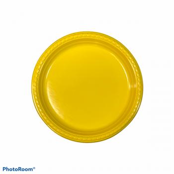 10 Piatti tondi in plastica con bordo ornato 23 cm gialli