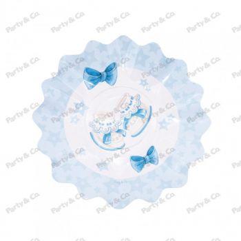 Piatti in cartoncino Baby Celeste 27 cm 8 pezzi