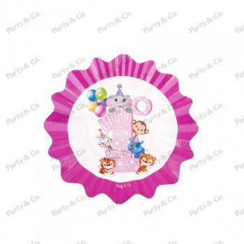 Piatti in cartoncino Primo Compleanno Rosa 21 cm 8 pezzi