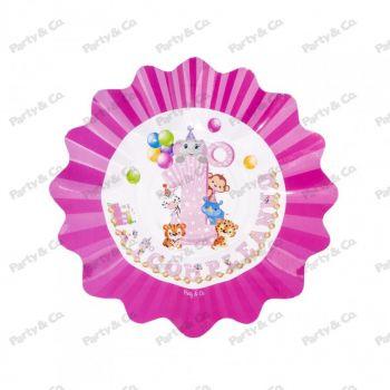 Piatti in cartoncino Primo Compleanno Rosa 27 cm 8 pezzi