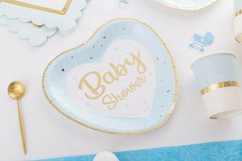 Piatto baby shower azzurro/oro
