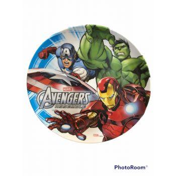 Piatto grande in melamina per la scuola Avengers 23 cm