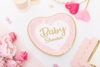 Piatto baby shower rosa/oro
