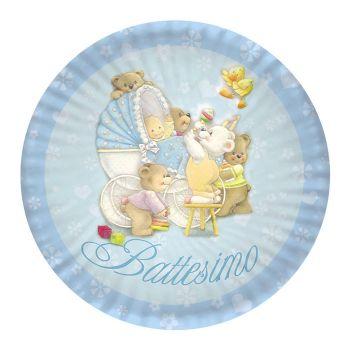 Piatto grande Baby Bears azzurro