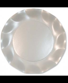 10 Piatti Grandi Tinta Unita in cartoncino Bianco Perlato 27 cm