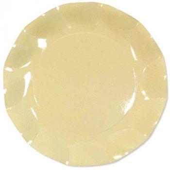 10 Piatti Grandi Tinta Unita in cartoncino Crema 27 cm
