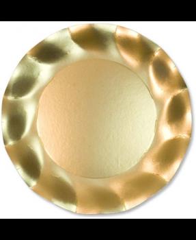 10 Piatti Grandi Tinta Unita in cartoncino Oro Satinato 27 cm