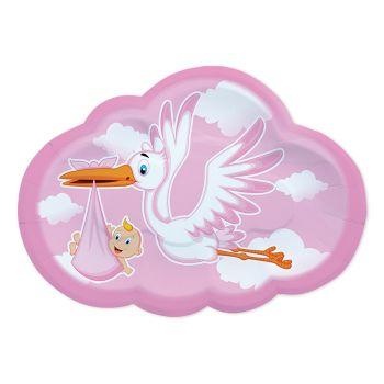 Piatti in cartoncino sagomati Cicogna Nuvola Rosa 26 x 18 cm 8 pezzi