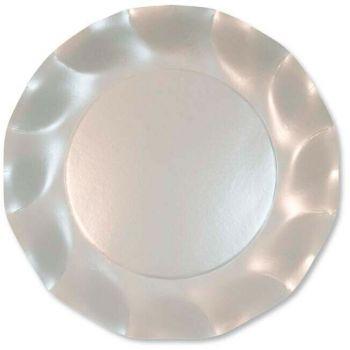 10 Piatti piccoli Tinta Unita in cartoncino Bianco Perlato 21 cm