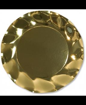 10 Piatti piccoli Tinta Unita in cartoncino Oro Lucido 21 cm