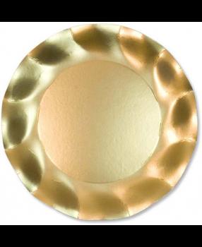 10 Piatti piccoli Tinta Unita in cartoncino Oro Satinato 21 cm
