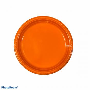 10 Piatti tondi in plastica con bordo ornato 18 cm arancio