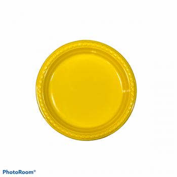 10 Piatti tondi in plastica con bordo ornato 18 cm gialli