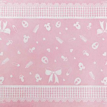 Runner tnt battesimo rosa 300 x 35 cm