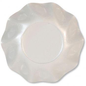 10 Scodelle Tinta Unita in cartoncino Bianco Perlato 24 cm