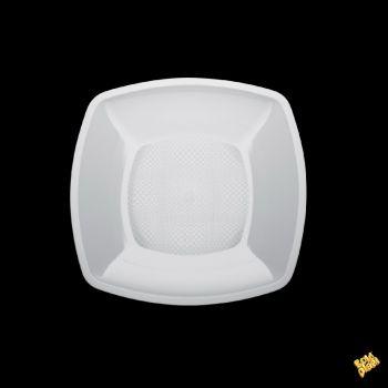 Piatto Fondo Linea Square Gold Plast Bianco 18 x 18 cm 25 pz