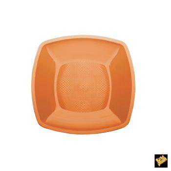 Piatto Piccolo Linea Square Gold Plast Arancio Papaya 18 x 18 cm 25 pz