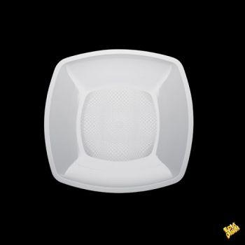 Piatto Grande Linea Square Gold Plast Bianco 23 x 23 cm 25 pz