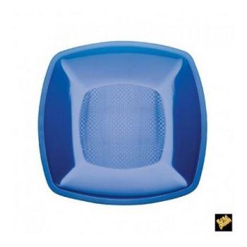 Piatto Piccolo Linea Square Gold Plast Blu Trasparente 18 x 18 cm 25 pz
