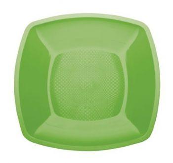 Piatto Fondo Linea Square Gold Plast Verde Lime 18 x 18 cm 25 pz