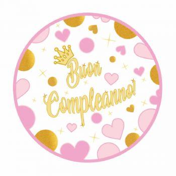 32 Tondi adesivi Buon Compleanno Cuori rosa 7 cm