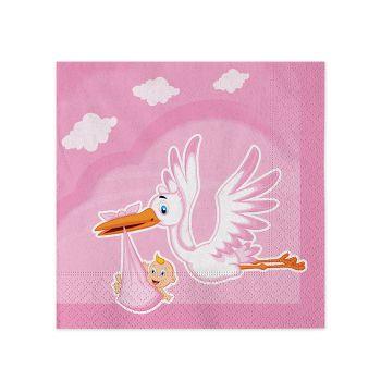 Tovaglioli di carta cicogna nuvola rosa 25 X 25 cm in confezioni da 20 pezzi