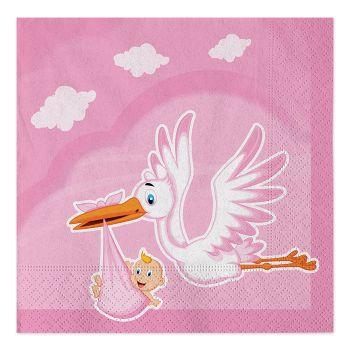 Tovaglioli di carta cicogna nuvola rosa 33 X 33 cm in confezioni da 20 pezzi