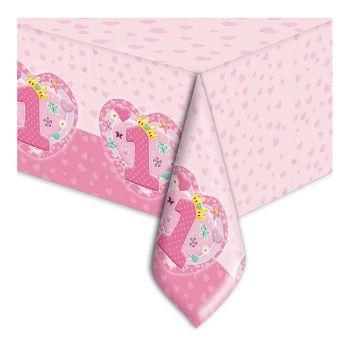 Tovaglia Primo Compleanno Rosa in Pvc Formato 140 x 270 cm