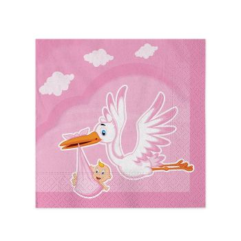 Tovaglioli 25 x 25 cm Cicogna Nuvola Rosa 20 Pz