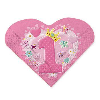Tovaglioli Cuore 33 x 33 cm Primo Compleanno Rosa 20 Pz
