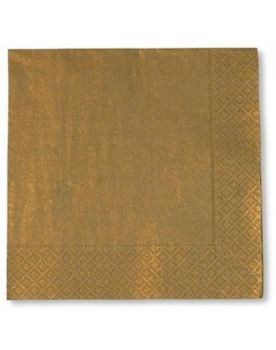 20 Tovaglioli di carta Tinta Unita Oro 33 x 33 cm