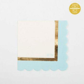 Tovaglioli carta azzurro/oro