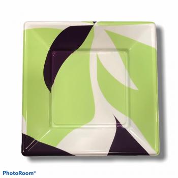 8 Piatti quadrati in plastica rigida 18 cm verdi e viola