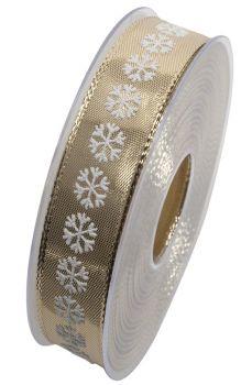 Nastro da Vinci fiocchi di neve 25 mm oro
