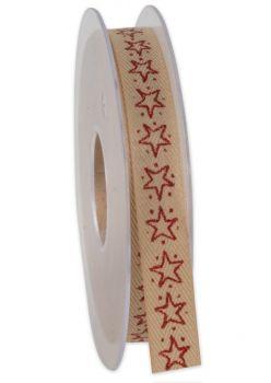 Nastro da Vinci ore stellari 15 mm marrone con stelle rosse