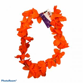 Collana di fiori hawaiana con perline arancio 100 cm